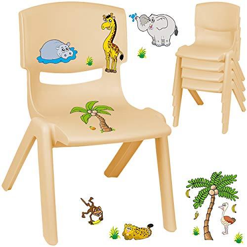 alles-meine.de GmbH Kinderstuhl / Stuhl - Motivwahl - Holz Farben - beige + Sticker - Zootiere & Giraffe - inkl. Name - Plastik - bis 100 kg belastbar / kippsicher - für INNEN & ..