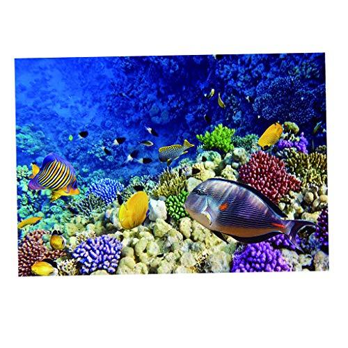 MagiDeal Sea World 3D Drucke Aquarium Hintergrund Poster Aquarium Aufkleber Ornament - 61 x 41 cm