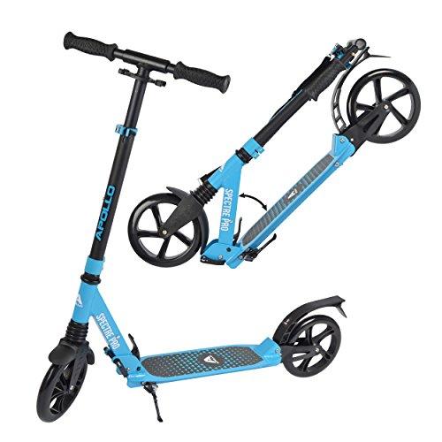Apollo XXL Wheel Scooter 200 mm - Spectre Pro Bleu est Un Trotinette City Scooter de à Double Suspension, XXL City-Roller Pliable et réglable en Hauteur, Trottinette