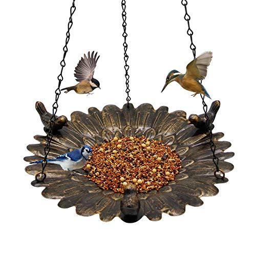 Shrdaepe Bird Feeder Hanging Tray, Metal Hanging Bird Feeder Tray, Seed Tray for Bird Feeders, Hanging Birdbath for Outdoor Garden Backyard Decoration
