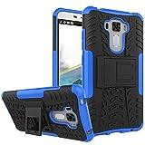 TiHen Handyhülle für Asus Zenfone 3 Laser ZC551KL Hülle, 360 Grad Ganzkörper Schutzhülle + Panzerglas Schutzfolie 2 Stück Stoßfest zhülle Handys Tasche Bumper Hülle Cover Skin mit Ständer -Blau