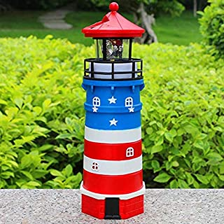 Solar Lighthouse with Rotating Lamp Garden Lights for Patio Lawn Décor