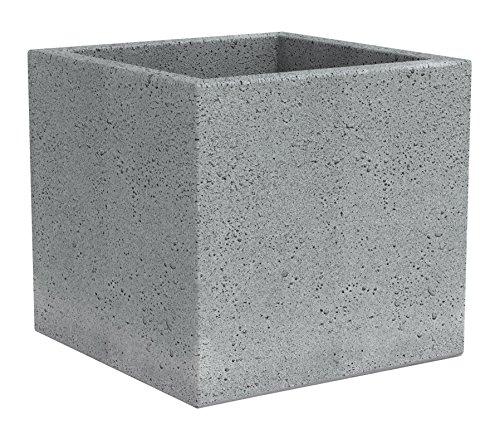 Scheurich C-Cube, Pflanzgefäß aus Kunststoff, Stony Grey, 30 cm lang, 30 cm breit, 28 cm hoch, 18 l Vol.