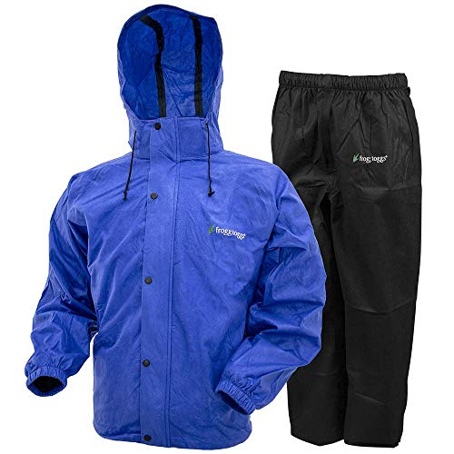 FROGG TOGGS Men's Classic All-Sport Waterproof Breathable Rain Suit, Indigo Jacket/Black Pant, Large