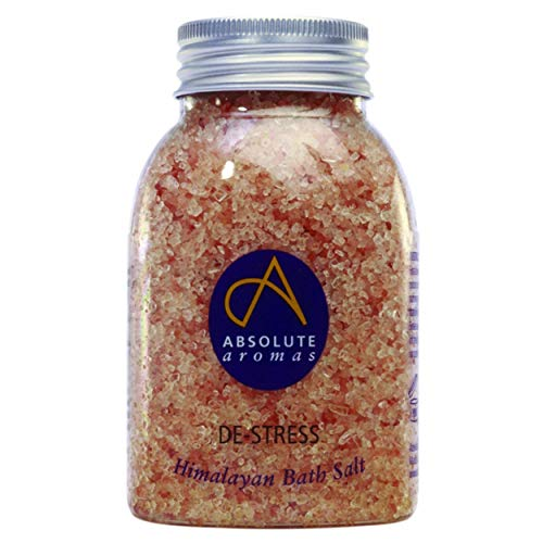 Absolute Aromas De-Stress Bath Salts - Natural Pink Coarse Himalayan Salt Infused with 100% Pure Essential Oils of Chamomile, Lavender, Bergamot and Jasmine (290g)