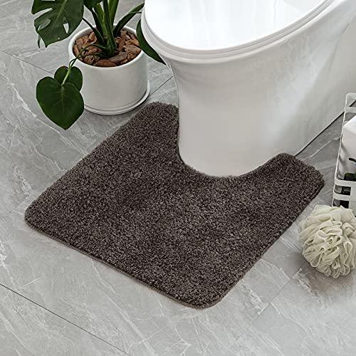 tappeto bagno wc MIULEE Tappetino da Bagno 1 Pezzo Assorbente Antiscivolo per Gabinetto da Bagno con Tappeto Morbido e Peloso per Toletta 50 X 50 CM Marrone