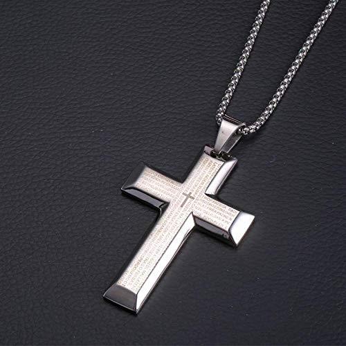 Gepersonaliseerde accessoires, halskettingen, bijbel vers groot kruis hanger ketting in roestvrij staal heren grote blauwe crucifix religieuze kruis sieraden, Thumby ZILVER