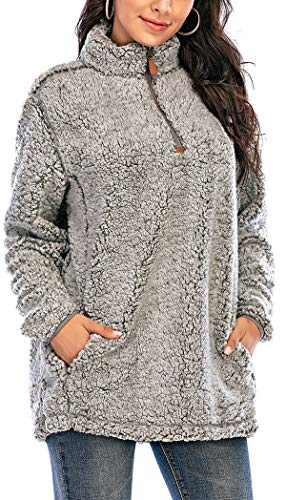 Les umes - Sudaderas de forro polar para mujer, media cremallera, mullido, con bolsillos
