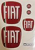 Logo Fiat 500delantera, trasera + Volante + 2para escudo Llavero. Para capó y maletero. Pegatinas resina, efecto 3d. fregi Color Clásico, bandera tricolor
