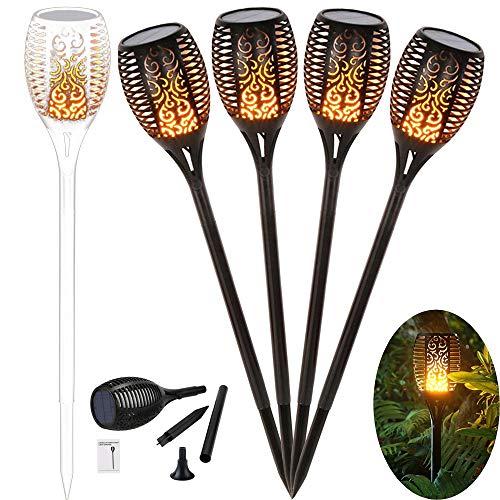 96 LED Solar Gartenleuchte Solar Garten Beleuchtung Garten Licht, Solarlampe mit IP65 wasserdicht und realistischen Flammen (4 Stücke)