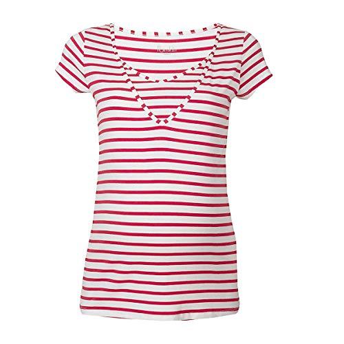 Pomkin T-Shirt de Grossesse et d'allaitement Lise T-Shirt de Grossesse T-Shirt de Grossesse, Rouge/Blanc