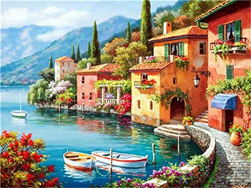 DIY Diamond Painting Kit Town Diamond Mosaic Sale Seaside 5d Embroidery Hobbies And Crafts A6 45x60cm
