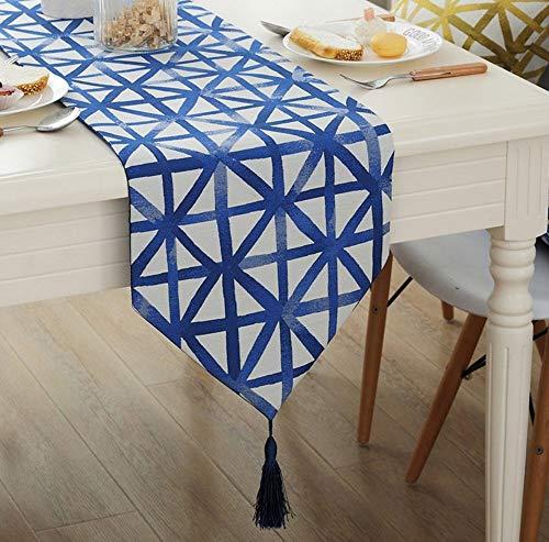 Pingrog Simple Modern Style materiaal mengtafel unieke geometrici Flag salontafel eettafel tafel eettafel TV Cabinet tafelloper (grootte 32 x 180 cm)