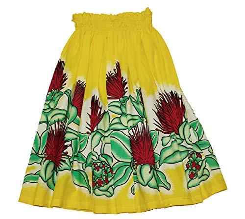 夏威夷青年女孩Pa'u Hula裙,夏威夷呼啦舞裙8至12岁的女孩(黄色)