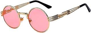 Retro Steampunk Style Round Vintage Sunglasses Colored Metal Frame Men Women