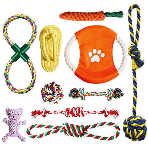 OKPOW Welpenspielzeug, 10Packungen Sicherheitshund Spielzeug für Hunde, Baumwollknoten Dog Toys, 8 Wochen Teetraining