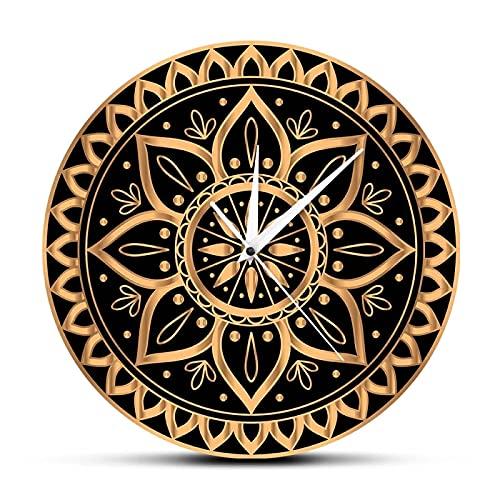 hufeng Reloj de Pared Lujo Oro Negro Mandala Étnico Patrón Real Reloj de Pared Reloj de Pared Diseño de Sol Indio Estudio de Yoga Silencio Sin tictac Horologe