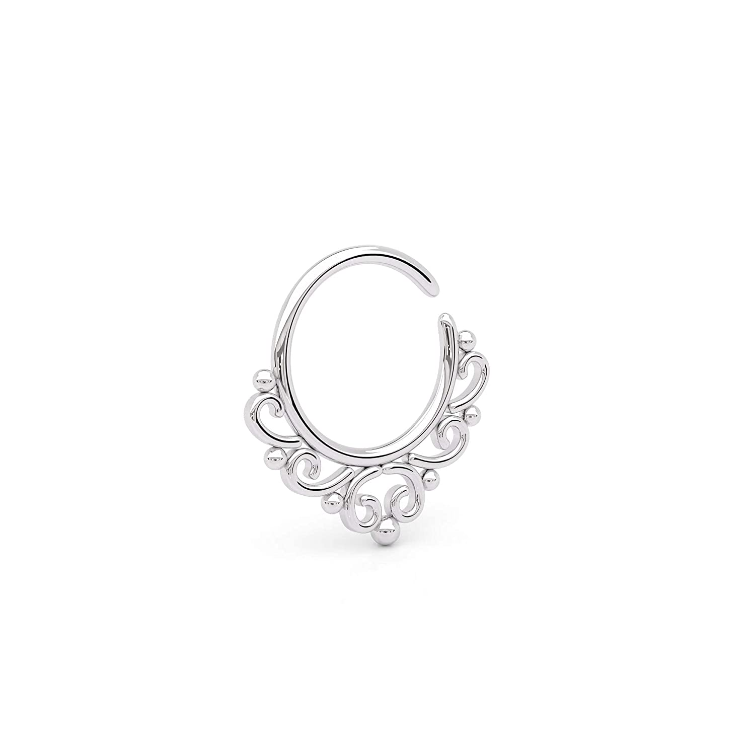 Sterling Silver Septum Ring Arlington Mall Tribal Free shipping Nose Piercing Indian Ea Hoop
