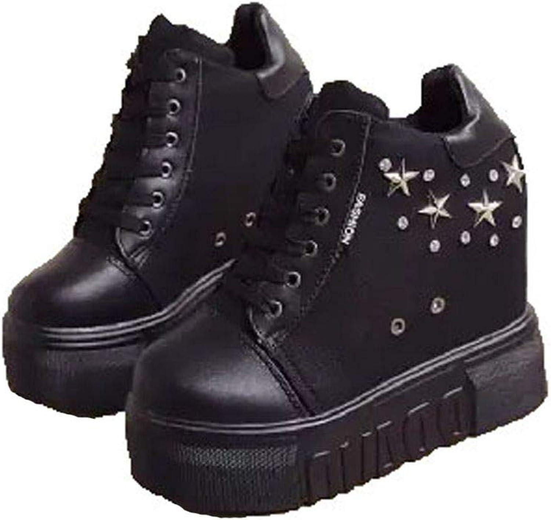 ASO-SLING Women's High Heels Platform Wedge Sneakers Casual Canvas Lace-up Hidden Heel Height Increasing Walking shoes