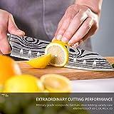 Joyspot Japanisches Santoku Messer, 7 inch Kochmesser Profi Messer Deutsche Karbon-Edelstahlmesser Extra Scharfe Messerklinge mit Ergonomischer Griff, Beste für Home Kitchen … - 5