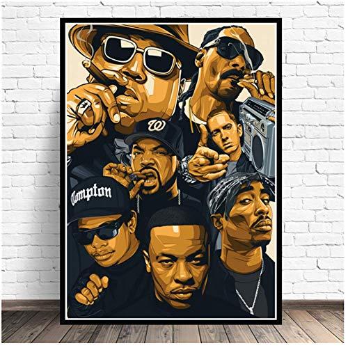 A&D Poster Drucke Biggie NotoriousJay-Z NWA Legende Sterne Collage Leinwand Malerei Kunst Wandbilder Wohnzimmer Wohnkultur-50x70cmx1 stücke-Kein Rahmen