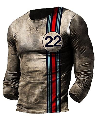 Herren Racing Oil T-Shirt Biker Motorrad T-Shirts Rundhals Langarm Retro T-Shirts