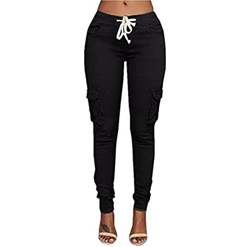 25b80705eb01d1 Caat Aycox Womens Solid Color Stretch Drawstring Skinny Pants Cargo Joggers