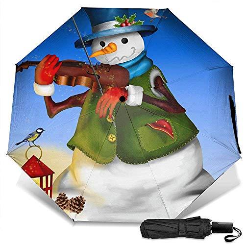 Schneemann mit Violine und Laterne manuell dreifach faltbar kompakt Reiseregenschirm UV-Schutz stark Winddicht