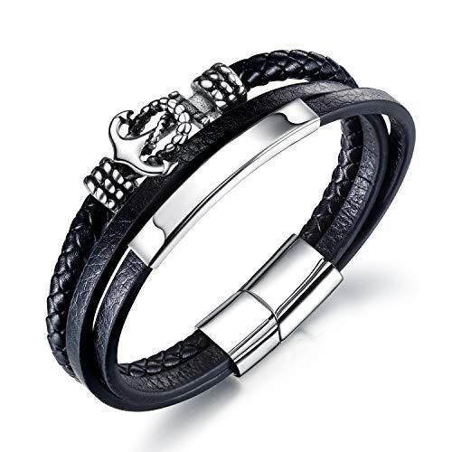 Pulsera de ancla de acero inoxidable de varias capas de cuero trenzado con hebilla magnética, joyería para hombre (negro)