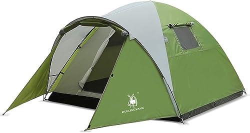 Tente extérieure Matériel de tissu en polyester Tente de camping 3-4 personnes Loisirs en famille Tentes d`érection hommeuelles à la pluie doubles pour la plage, En plein air, les voyages, la randonnée,