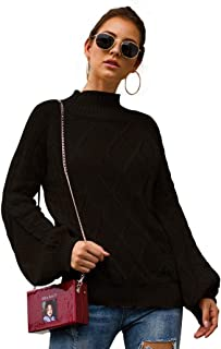 WISDOME Womens Fashion Lantern Sleeve Cable Knit Sweater Loose Mock Turtleneck Solid Color Pullover Sweater Tops Pullovers
