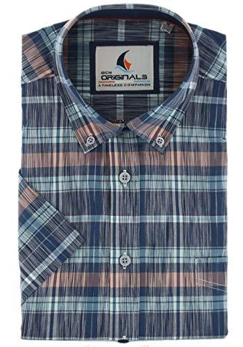 Gcm originals regular fit overhemd kortem ouw ruit blauw