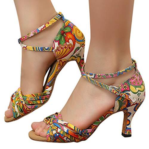 Tanzschuhe Damen Standard & Latein Schuhe Mode Elegant Ballsaal Tango Salsa Tanzschuhe Party Hochzeit Sozial Sandalen Weicher Boden Spitze Absätze Tanzschuh Celucke (Gelb, 38 EU)