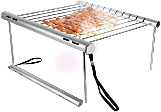 deyi Portable Camping Grill, Folding Compact Stainless Steel Charcoal Barbeque Grill for Campers, Backpacking, Backyards, Survival