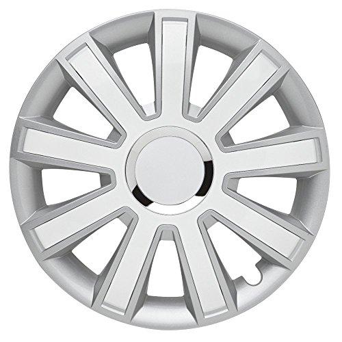 CM DESIGN Flash Silver White–15Pulgadas, Apta para Casi Todas Las Peugeot, por Ejemplo para 106S2con airbag Lateral