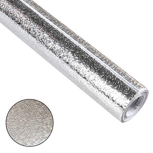 B&HG Autoadhesivo Protector Cajon,Prueba De Aceite Impermeable Antideslizante Cajon De Cocina,Cajones Cocina Congelador Estera del Refrigerador Estante Película De Aluminio (Silver-1,60 * 300cm)