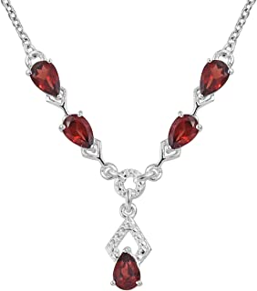 925 Sterling Silver Pear Garnet Necklace for Women 18