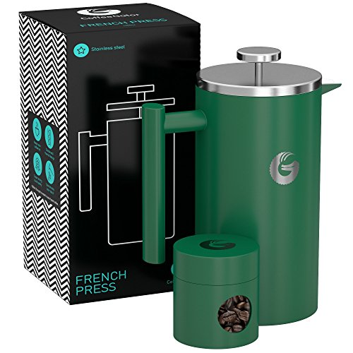Coffee Gator French Press Kaffeemaschine – Heißer-für-länger Thermobrüher mit weniger Ablagerungen – Plus Behälter – Großes Fassungsvermögen, doppelwandig isoliert – Edelstahl – 1 Liter – Grün