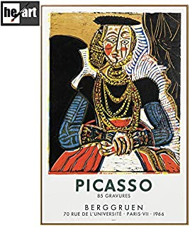 Picasso Famous Oil Paintings Reproduction Modern Wall Decor Art Cubism Vintage Style Artwork Woman Portrait Prints on Canvas Picture with Frames Ready to Hang,4060