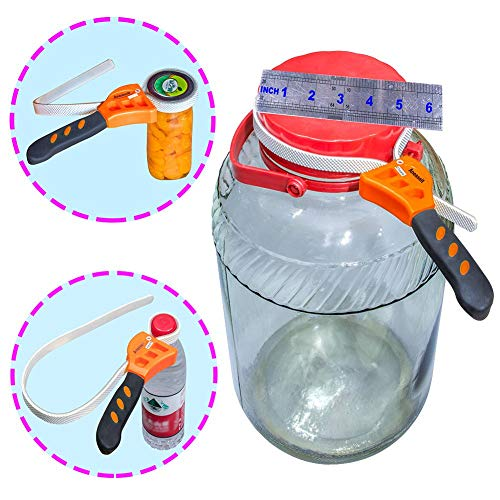 """Arthritis Weak Hand Jar Opener, Easily opens 3/8"""" extra small and 6"""" extra large bottle caps, Adjustable Silicone Belt Wrench. Kitchen Spice Lids, Universal Tools for Replacing Water Filter Cartridges"""