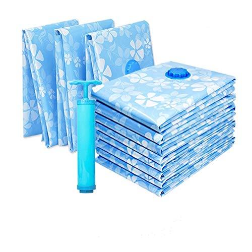 Bolsa de almacenamiento al vacío gruesa, 110 x 80 cm, 80 x 60 cm, 70 x 50 cm, bolsa comprimida con bomba de vacío manual, organizador de ropa de techo reutilizable (1 de cada tamaño + bomba de vacío).