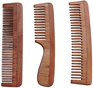 HealthGoodsAU - Set of 3 Pure Neem Wood Combs for Strong and Shiny Hair   Wide Tooth Neem Comb   Wide Tooth Neem Comb with...