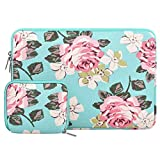 MOSISO Laptop Sleeve Bag Only Compatible with MacBook 12 inch A1534 with Retina Display 2017/2016/2015 Release, Canvas Rose Carrying Cover with Small Case, Hot Blue