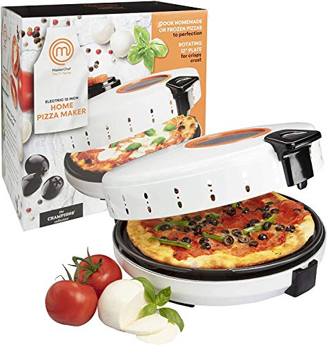 MasterChef Pizza Maker Electric Rotating 12 Inch Nonstick Calzone Cooker  Countertop Pizza Pie and Quesadilla Oven w Adjustable Temperature Control Renewed