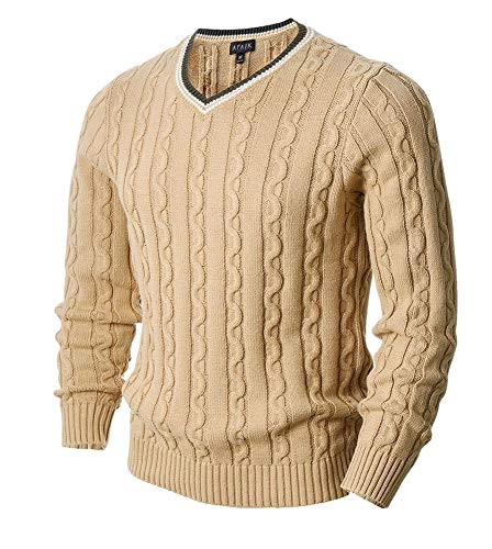 AFAIK Men's Long Sleeve Pullover V-Neck Cotton Knitted Casual Sweater (Medium, 1022-Beige)