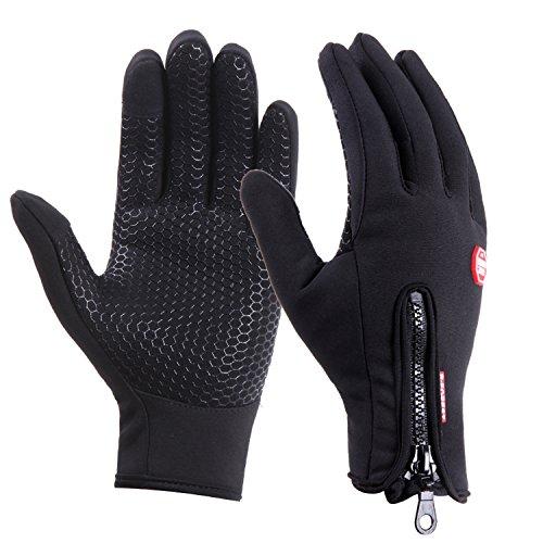 UPhitnis Wasserabweisend Touchscreen Handschuhe für Herren Damen - Adjustable Fahrradhandschuhe mit Reißverschluss - Outdoor Winddicht Winterhandschuhe für Lauf Radfahren Jagd Sports, Schwarz, M