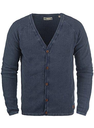 !Solid Tebi Herren Strickjacke Cardigan Grobstrick Winter Pullover mit V-Ausschnitt, Größe:M, Farbe:Insignia Blue (1991)