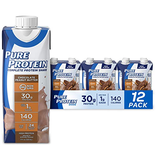 Pure Protein Chocolate Peanut Butter Protein Shake | 30g Complete Protein | Ready to Drink and Keto-Friendly | Vitamins A, C, D, and E plus Zinc to Support Immune Health | 11 Ounce Bottles | 12 Pack