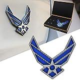 DSYCAR 3D Metal Blue Wing US Air Force Premium Car Body Side Rear Trunk Emblem Badge - Gift 4 Free Air Force Logo Tire Valve Stem Caps