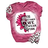 Breast Cancer Awareness Shirts for Women Halloween Graphic Tees Short Sleeve Blouse Tops October Wear Pink T Shirt